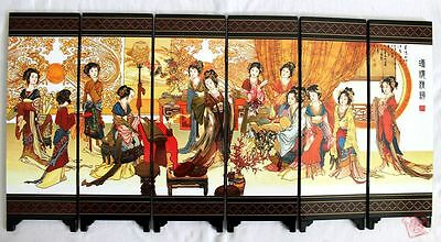 Chinese Boutique collection Lacquer ware painting beauty folding screen mk
