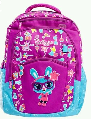 "LATEST! SMIGGLE GIRL'S PURPLE BACKPACK SCHOOL BAG -""Yay"" Bonny Bunny"