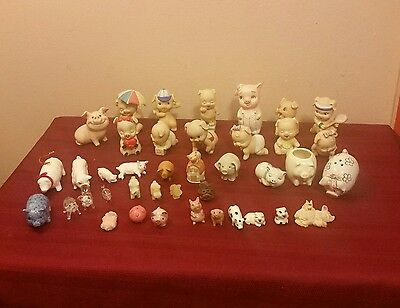 Collection Of 40 Collectible  Pig Figurines Enesco, Hagen Renaker-Ceramic Glass