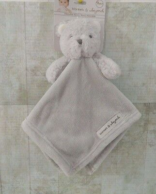Blankets and Beyond Security Blanket Bear Gray Fleece Baby Lovey Nunu New