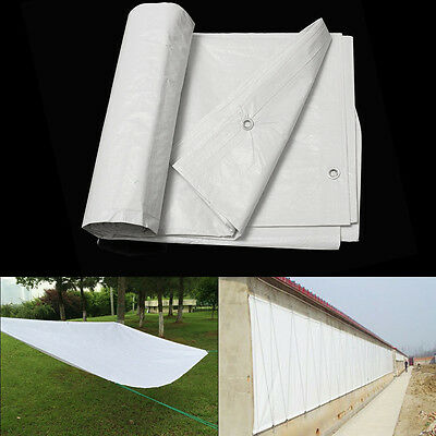 White Waterproof Tarpaulin Ground Sheet Camping Cover Light Weight Various Size