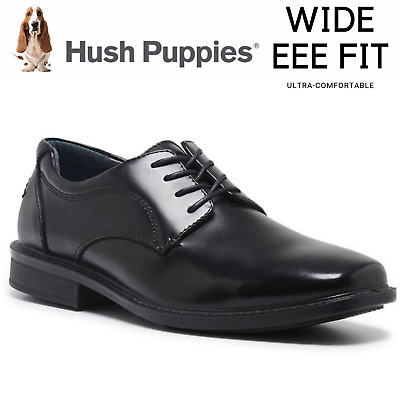 HUSH PUPPIES HEATHCOTE Leather Everyday Shoes Lace Up Extra Wide Work Business