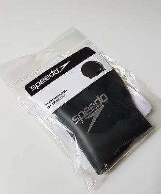 NEW Speedo Silicone Plain Moulded Swim Swimming Cap - Black - *Aus Seller*