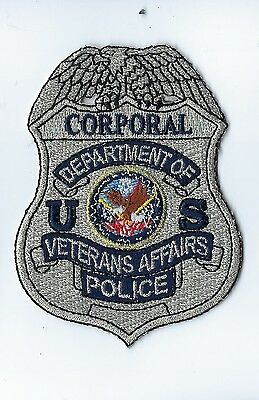 Dept. of Veterans Affairs VA Police CORPORAL silver badge-style patch - NEW!
