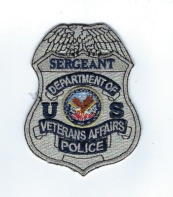 Dept. of Veterans Affairs VA Police SERGEANT silver badge-style patch - NEW!
