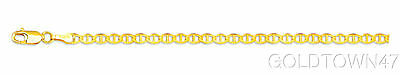 10kt Yellow Gold 3.2mm Diamond Cut Mariner Link Chain Anklet with Lobster Clasp