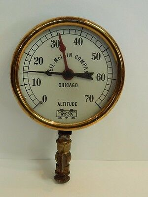 Antique Vtg Altitude Gauge Industrial Steampunk Marshalltown Weil McLain Co