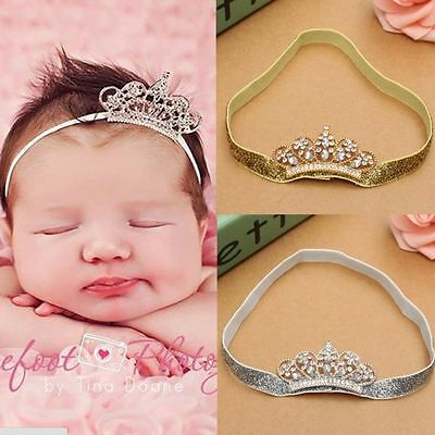 Baby Newborn Infant Girl Princess Pearl Crown Headband Hair Bow Band Photo Props
