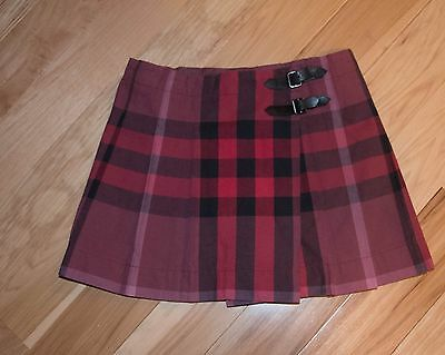Burberry Kids Girls Pink Black Red Plaid Pleated Skirt Size 7Y