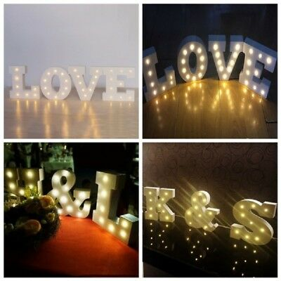 LED Light UP Wooden Letters Alphabet Wall Hanging Wedding Party Home Shop Decor