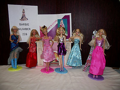 Barbie dolls lot of six gowns night number 228