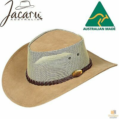 JACARU Summer Breeze Squashy Cooler Suede Leather Hat Brim Vented Mesh 1019