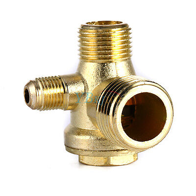 Golden Male 3 Way Brass Thread Air Compressor Check Valve Connector Tool yfq