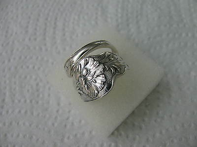 Antique Sterling Silver spoon RING s 7 1/4 POPPY # 5480 Jewelry Floral