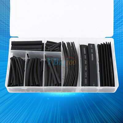 150pcs Black 2:1 Halogen-Free Heat Shrink Tubing Tube Sleeve Wrap Wire Cable yfq