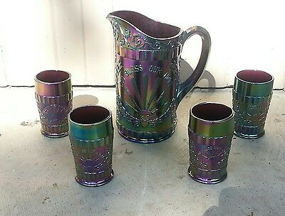 Vintage Amethyst Purple Carnival Glass Pitcher & 4 Tumblers Lg Wright - Mint!