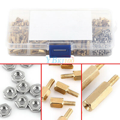 360pc M2.5 Brass Male-Female Standoff Spacer Hex Nuts Assorted DIY Kit + Box yfq