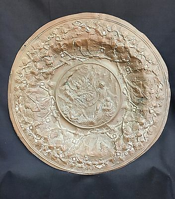 Antique Bronze/Copper Frontier Americans, Buffalos and Indians Plaque