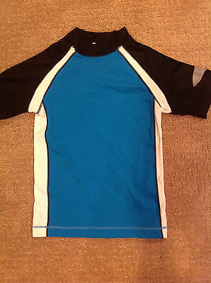 Gymboree Rash Guard Swim Shirt Blue Black White Size 8