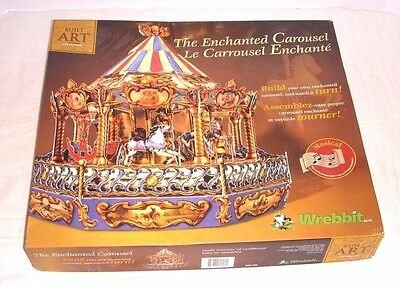 Vintage New In Open Box Wrebbit 3D The Enchanted Carousel Built Art Series 1998