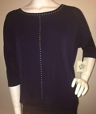 CHICOS Knit Kit Blue Studded Wedge Fashion Top 3/4 Sleeve Women's Size 0/M