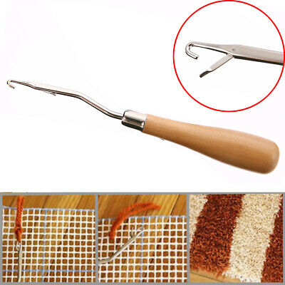 1pc Handle Wooden Crochet Needle Latch Hook Puller Tool For Canvas Mat Rug Craft