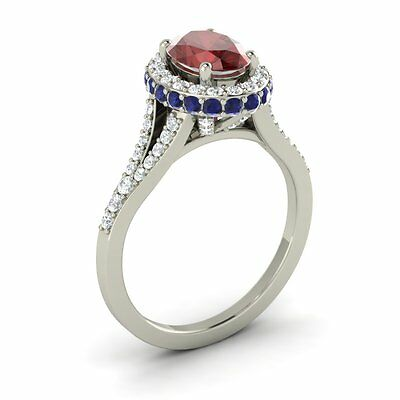 Garnet, Blue Sapphire & SI Diamond In 14k White Gold Engagement Ring Certified