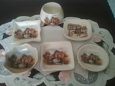 "ANTIQUE ""SANDLAND WARE"" DISHES x 6 ~  ENGLAND ~ "" THE JOLLY BOATMAN"" SERIES"