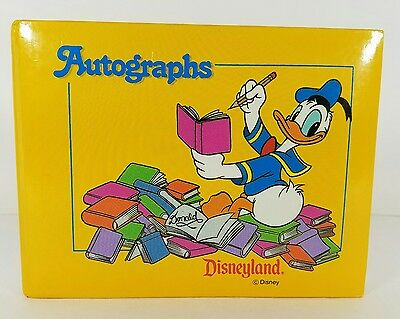 "Disneyland Disney Blank Autograph Book Vtg Donald Duck Yellow Cover 6"" x 4 1/2"""