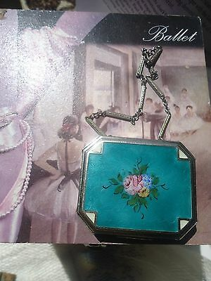 Guilloche dance purse floral beautifully detailed compact with chain