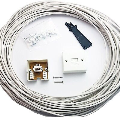 15M BT Telephone Master Socket/Box Line Extend Extension Cable Kit - 10m 15m ...