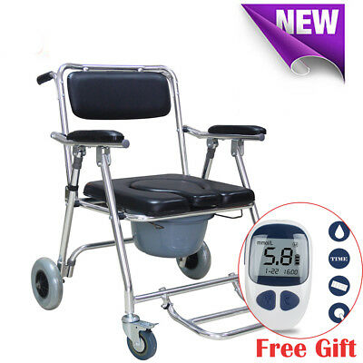 Transport Shower Bedside Commode Folding Wheelchair Toilet Chair Aluminum 86cm