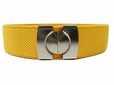 Childrens 1-11 Years Plain Coloured fully adjustable Elasticated Belt - Yellow