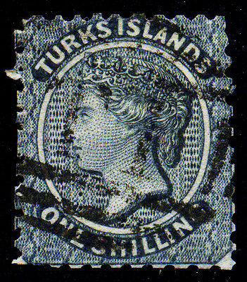 Turks Islands. 1867. 1sh. Slate Blue. SC# 3. SG# 3. Unwmk. VF Used