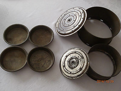 "Set of 6 Vintage Pie and Cake Tins With Removable Bottoms, ""Handiware"""