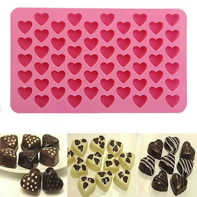 Silicone 55 Heart Cake Chocolate Cookies Baking Mould Ice Cube Soap Mold Tray