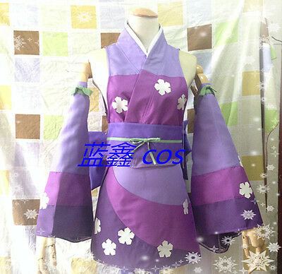 Fairy Tail Erza Scarlet purple kimono Cosplay Costume Free Shipping F008