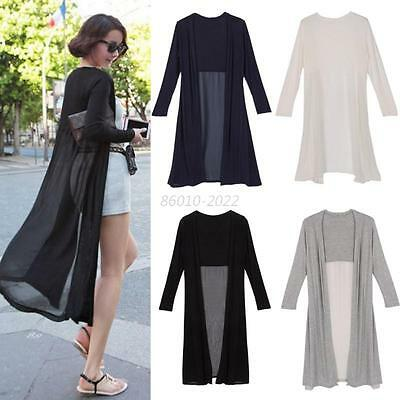 Women Long Sleeve Chiffon Cardigan Maxi Dress Casual Sunscreen Tops Coat Outwear