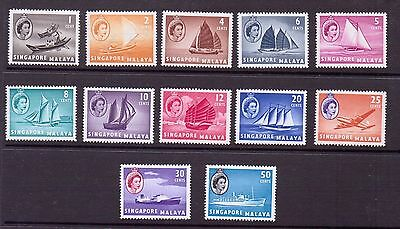Singapore1955-59 Queen Elizabeth short set. sg 38-49 mounted mint