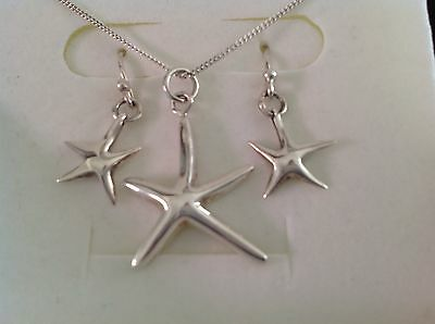 925 Italy Sterling Silver Starfish Necklace & Earrings Set