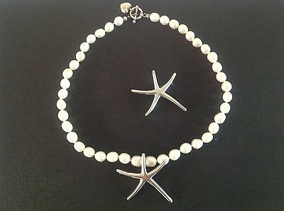 Sterling Silver Starfish & Genuine Pearl Necklace & Matching Brooch -Stamped 925