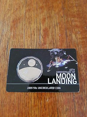 2009 40th Anniversary of Moon Landing Australia 50 Cent Coin & Card Uncirculated