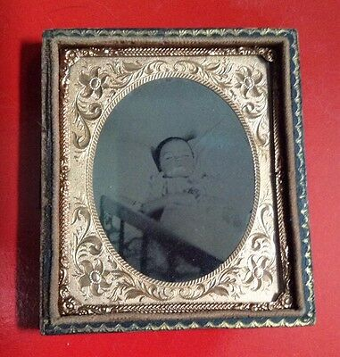 1/4 Plate AmbrotypePost Mortem /  Hand-Colored / Little Girl  In Crib