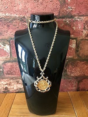 "Antique 1894 Victorian Full Sovereign & 20"" 9ct Yellow Gold Rope Chain"
