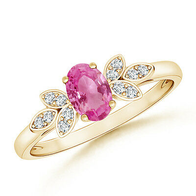 Natural Solitaire Oval Pink Sapphire Engagement Ring And Diamond 14K Yellow Gold