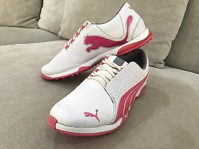 Puma Ladies White Womens 10 US 26.5cm Golf Shoes Boots Spikes Great Condition