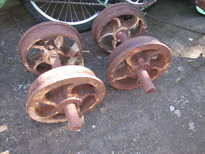 Pair Of Old Cast Iron Coal Railway Truck Mining Cart Wheels Hand Weights