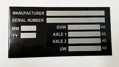 Trailer Vin Chassis Plate Plant Smart Car Box Boat Bikes Blank 2 Axle