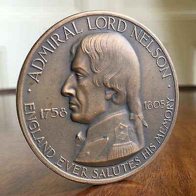 Large And Rare Admiral Nelson Bronze Medal, Trafalgar 1805-1955. 57mm.