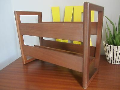Mid century teak magazine rack danish good condition mcm retro newspaper storage